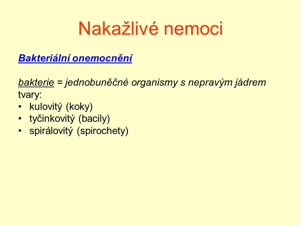 Nakažlivé nemoci Bakteriální onemocnění