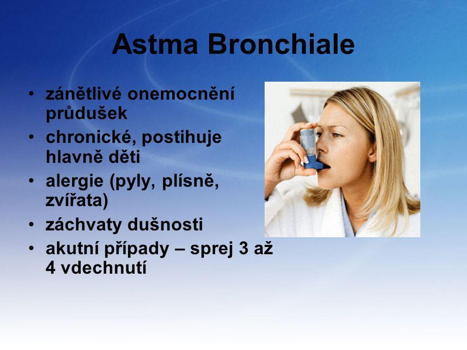 Astma Bronchiale zánětlivé onemocnění průdušek