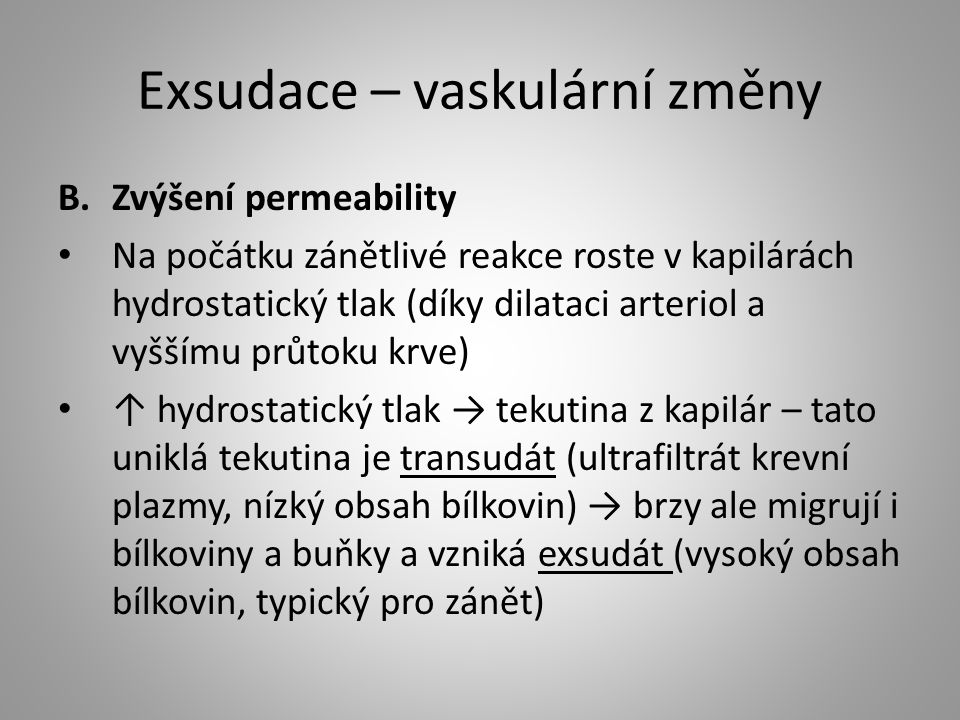 Exsudace – vaskulární změny