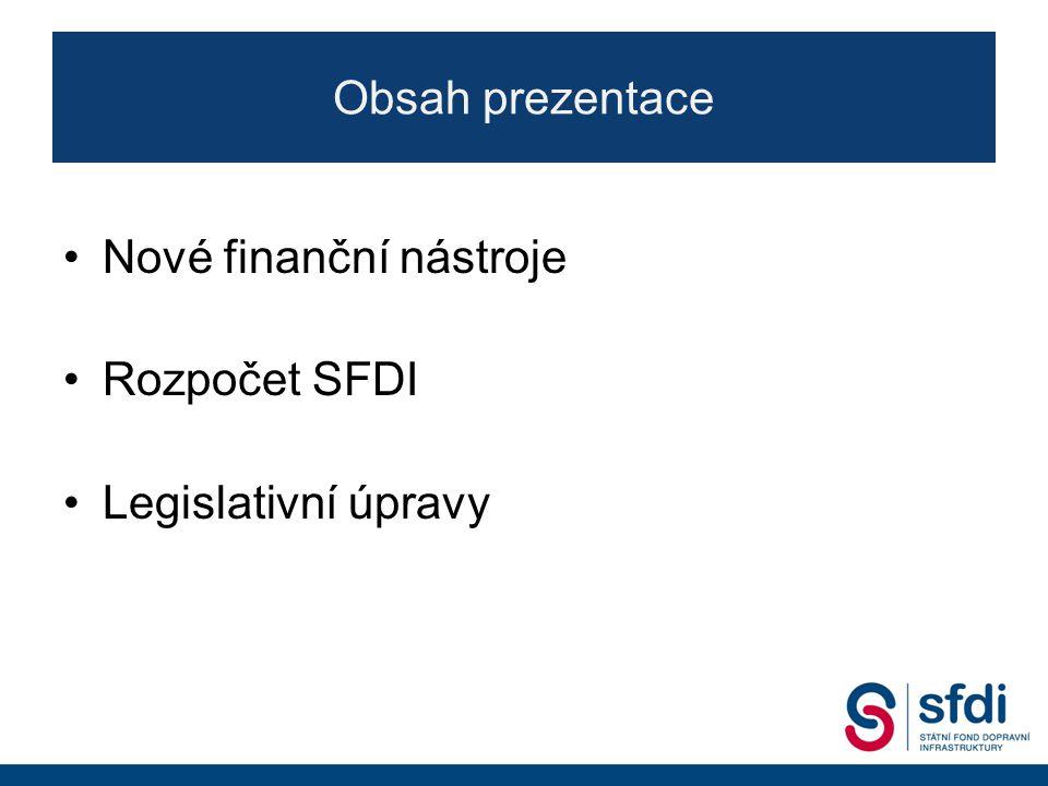 Obsah prezentace Nové finanční nástroje Rozpočet SFDI Legislativní úpravy