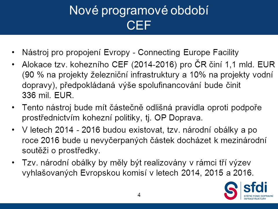Nové programové období CEF
