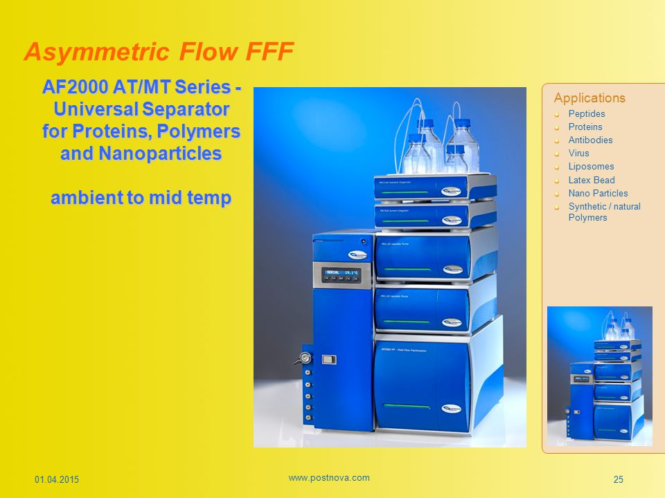 Asymmetric Flow FFF AF2000 AT/MT Series - Universal Separator for Proteins, Polymers and Nanoparticles ambient to mid temp.