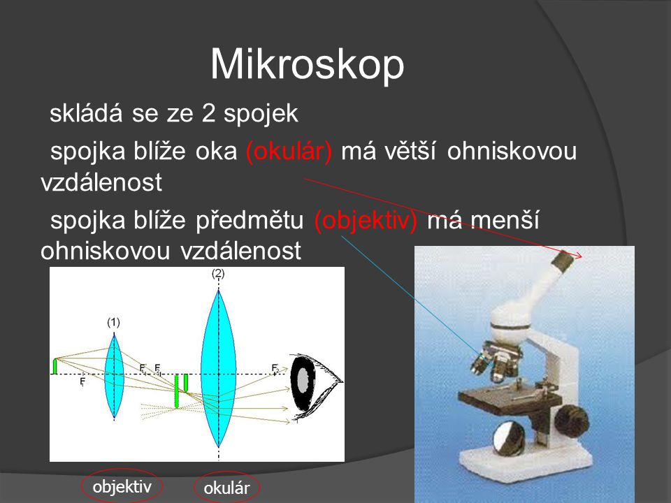 Mikroskop spojka blíže oka (okulár) má větší ohniskovou vzdálenost