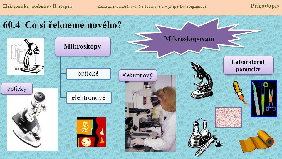 60.4 Co si řekneme nového Mikroskopování Mikroskopy optické