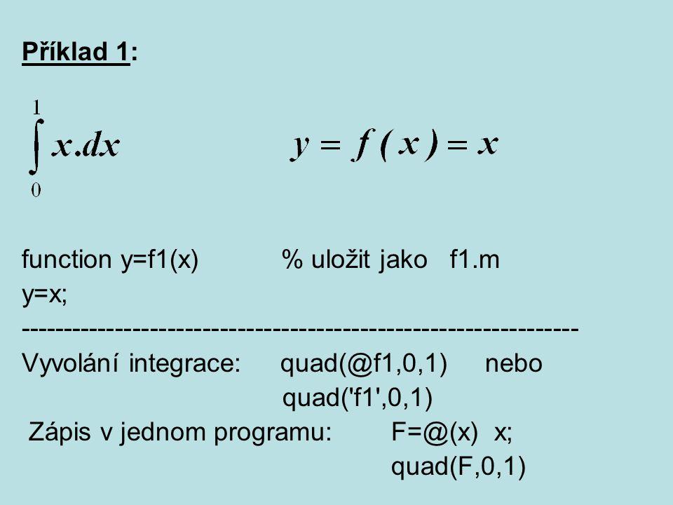 Příklad 1: function y=f1(x) % uložit jako f1.m. y=x; ----------------------------------------------------------------