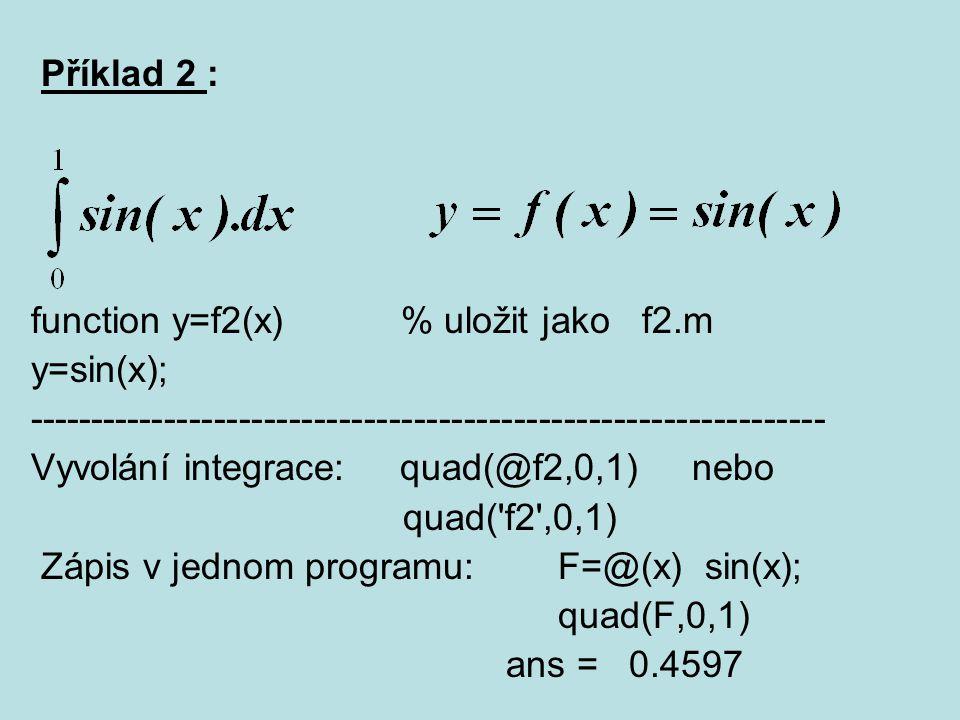 Příklad 2 : function y=f2(x) % uložit jako f2.m. y=sin(x); ----------------------------------------------------------------
