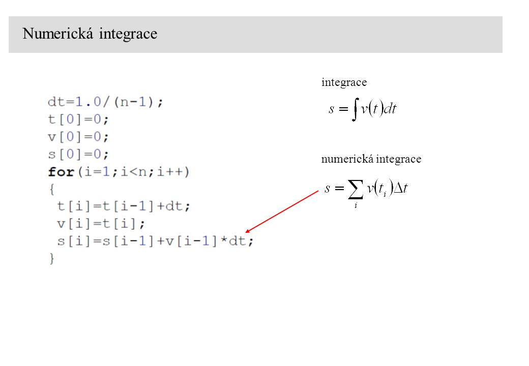 Numerická integrace integrace numerická integrace