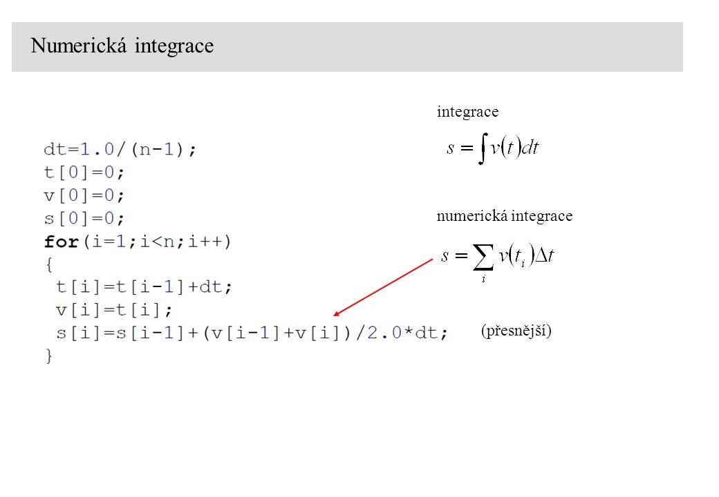 Numerická integrace integrace numerická integrace (přesnější)