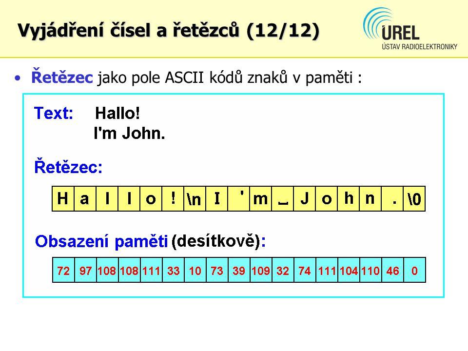 Řetězec jako pole ASCII kódů znaků v paměti :