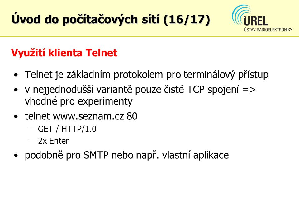 Využití klienta Telnet