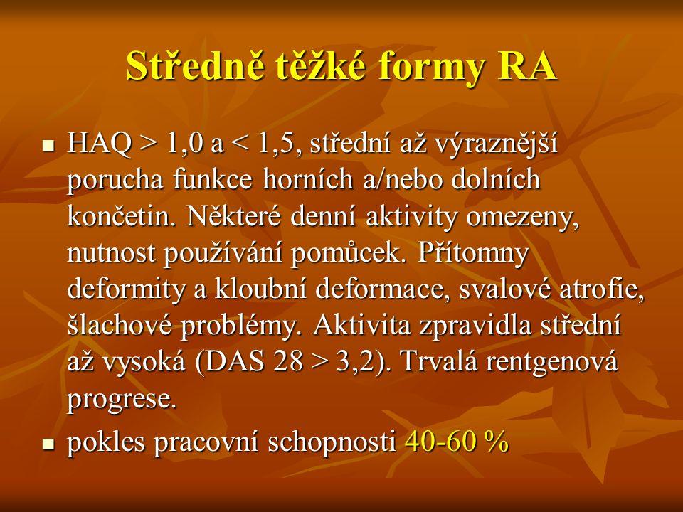 Středně těžké formy RA