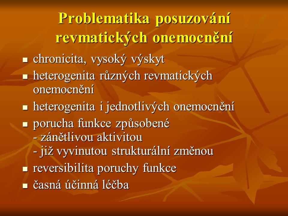 Problematika posuzování revmatických onemocnění