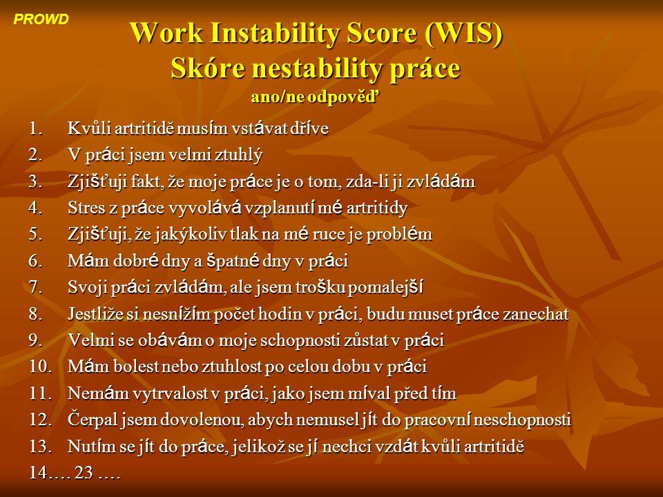 Work Instability Score (WIS) Skóre nestability práce ano/ne odpověď