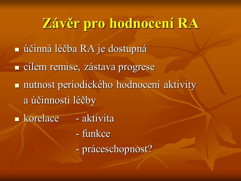 Závěr pro hodnocení RA účinná léčba RA je dostupná