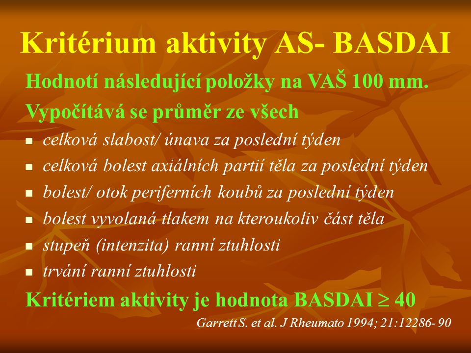 Kritérium aktivity AS- BASDAI