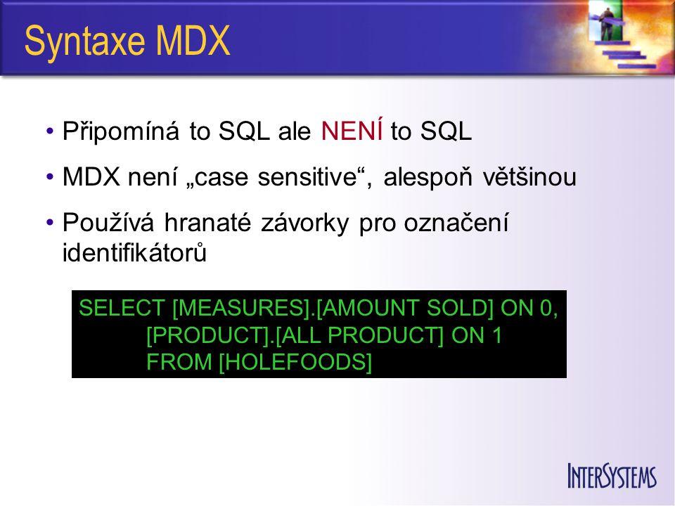 Syntaxe MDX Připomíná to SQL ale NENÍ to SQL