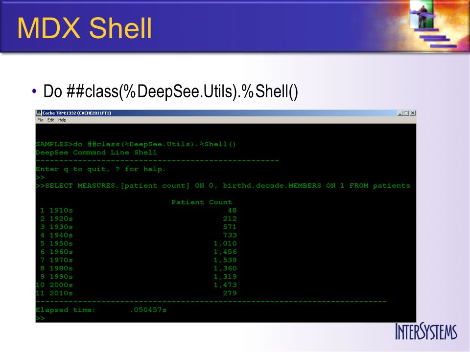 MDX Shell Do ##class(%DeepSee.Utils).%Shell()