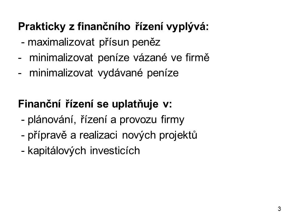 Prakticky z finančního řízení vyplývá: