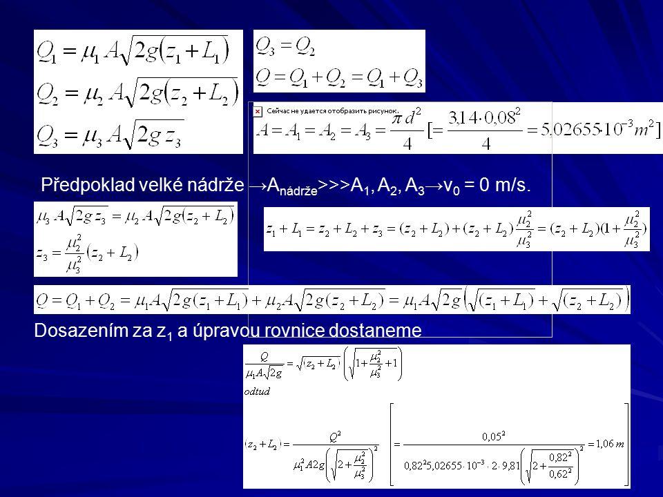 Předpoklad velké nádrže →Anádrže>>>A1, A2, A3→v0 = 0 m/s.