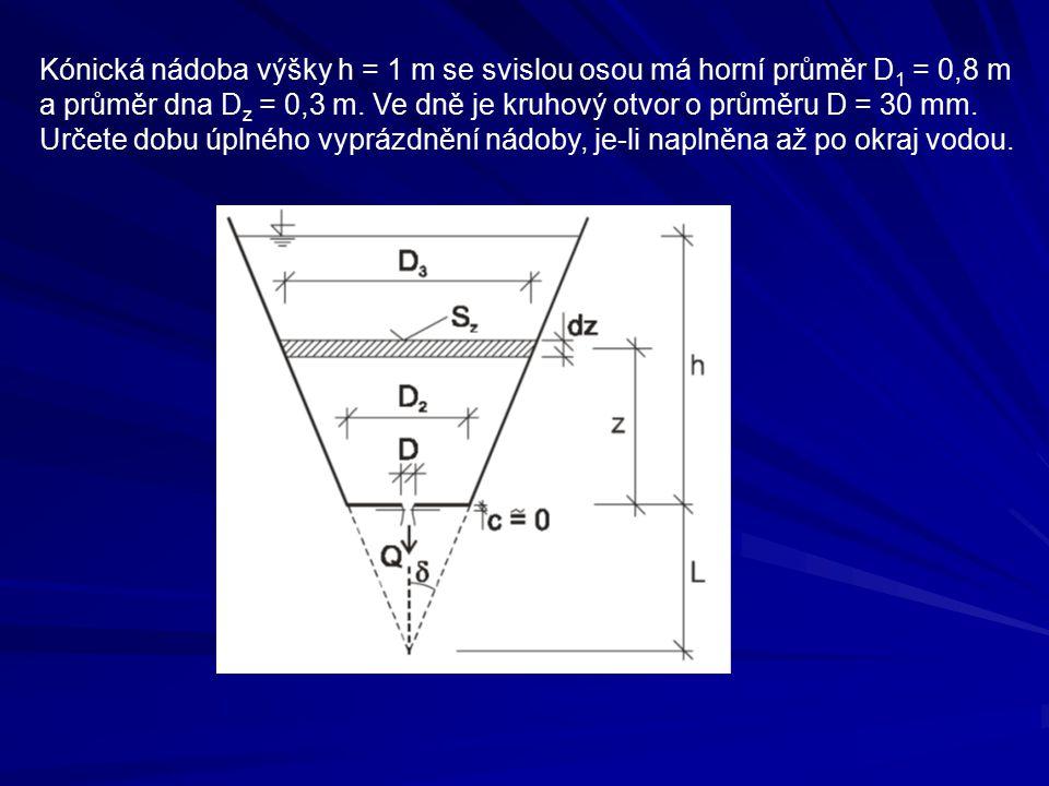 Kónická nádoba výšky h = 1 m se svislou osou má horní průměr D1 = 0,8 m