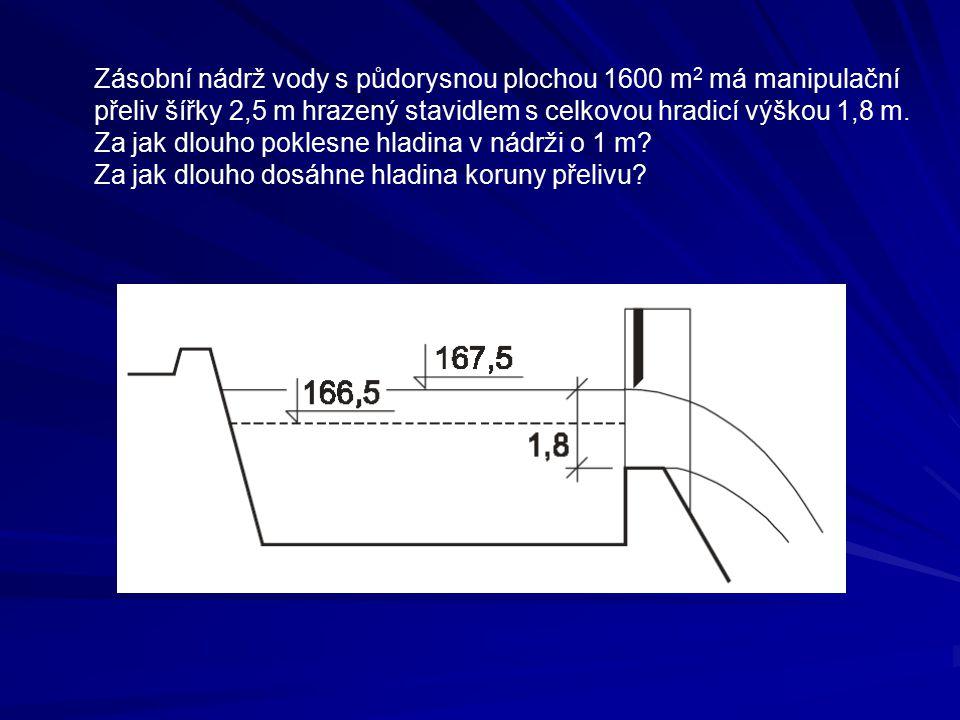 Zásobní nádrž vody s půdorysnou plochou 1600 m2 má manipulační