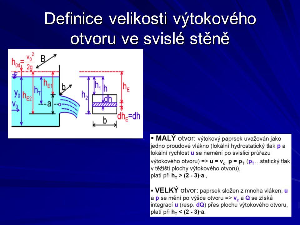 Definice velikosti výtokového otvoru ve svislé stěně