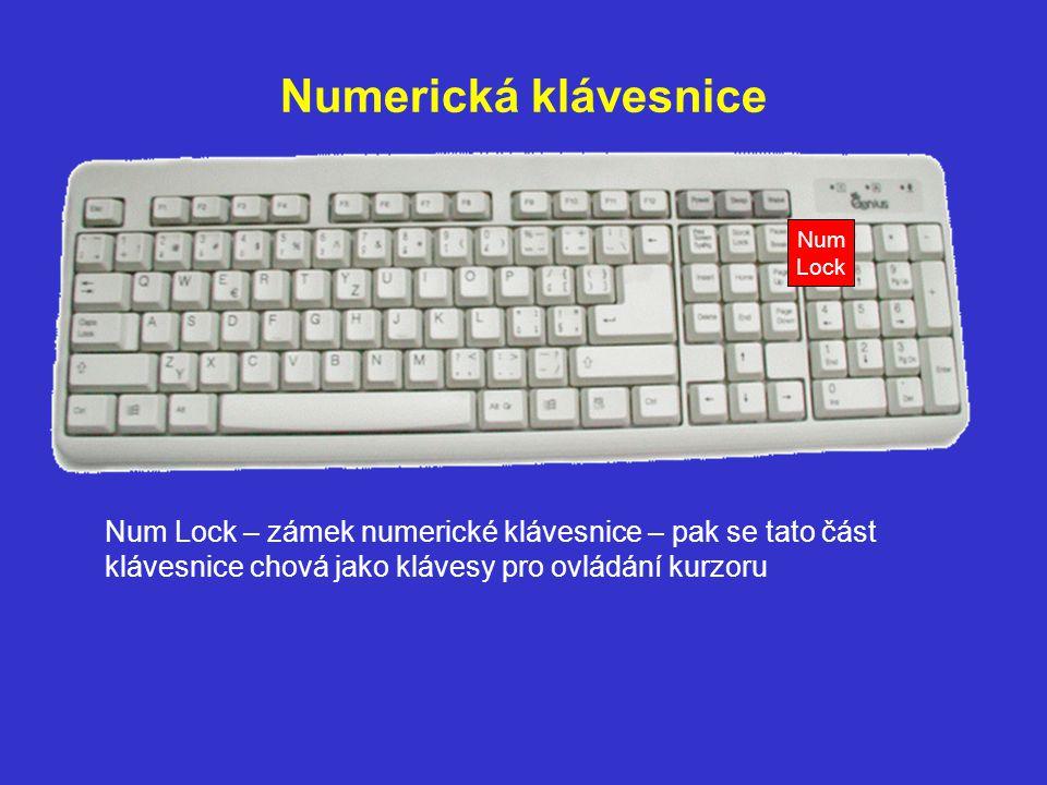 Numerická klávesnice Num. Lock.