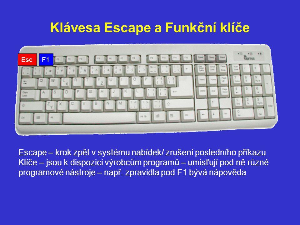 Klávesa Escape a Funkční klíče