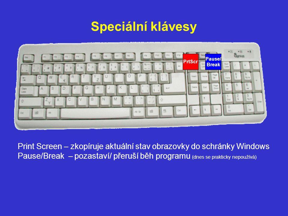 Speciální klávesy PrtScr. Pause/ Break.