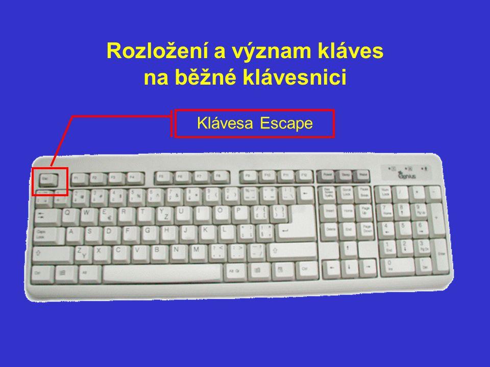 Rozložení a význam kláves na běžné klávesnici