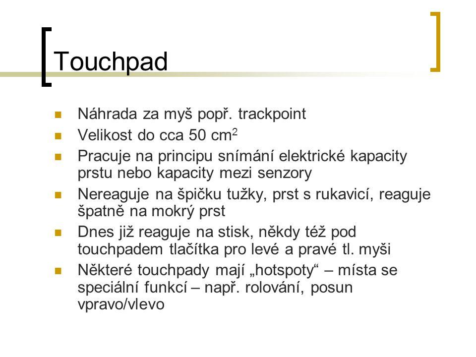 Touchpad Náhrada za myš popř. trackpoint Velikost do cca 50 cm2