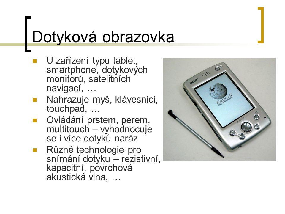 Dotyková obrazovka U zařízení typu tablet, smartphone, dotykových monitorů, satelitních navigací, …