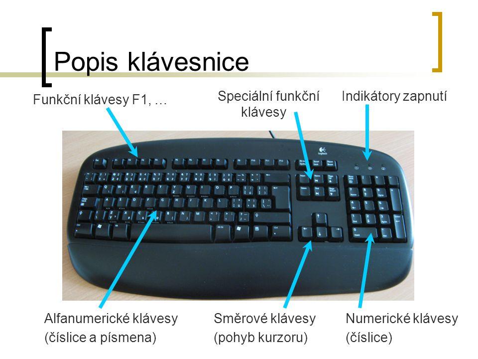 Popis klávesnice Speciální funkční klávesy Indikátory zapnutí