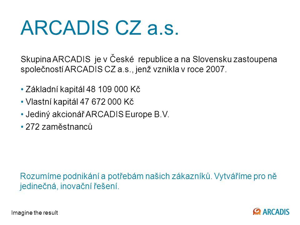 ARCADIS CZ a.s. Skupina ARCADIS je v České republice a na Slovensku zastoupena společností ARCADIS CZ a.s., jenž vznikla v roce 2007.