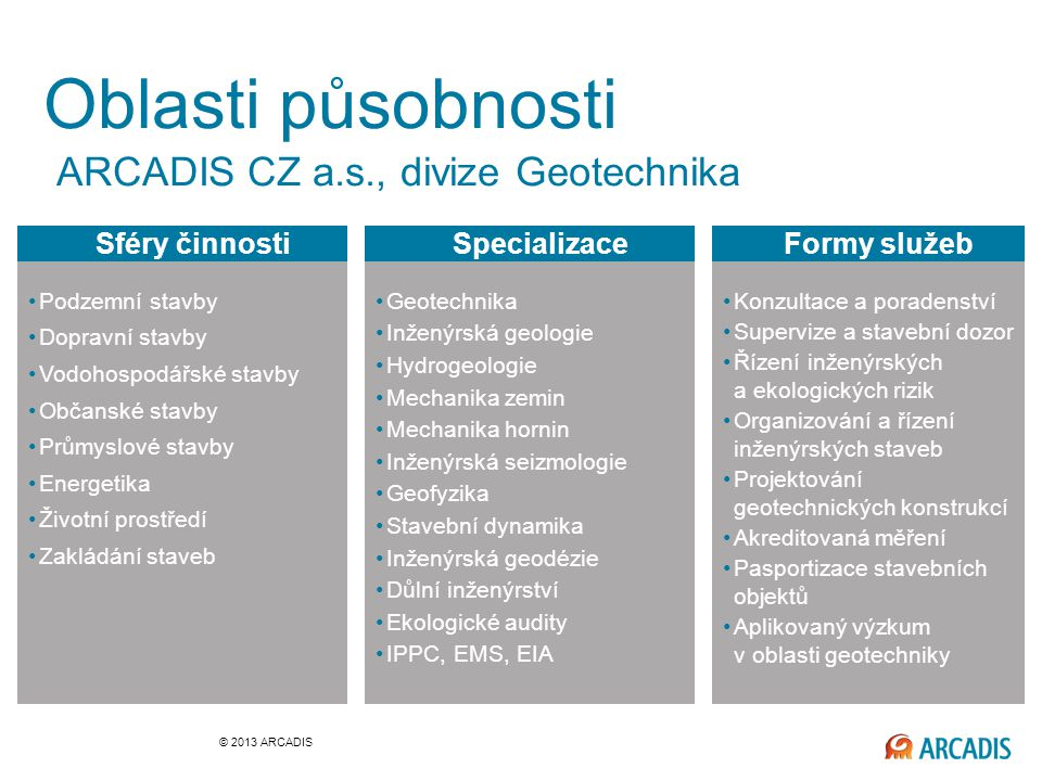 Oblasti působnosti ARCADIS CZ a.s., divize Geotechnika Sféry činnosti