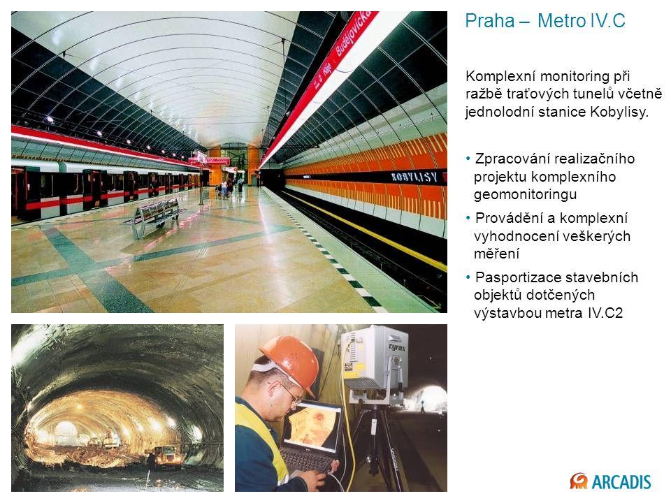 Praha – Metro IV.C Komplexní monitoring při ražbě traťových tunelů včetně jednolodní stanice Kobylisy.