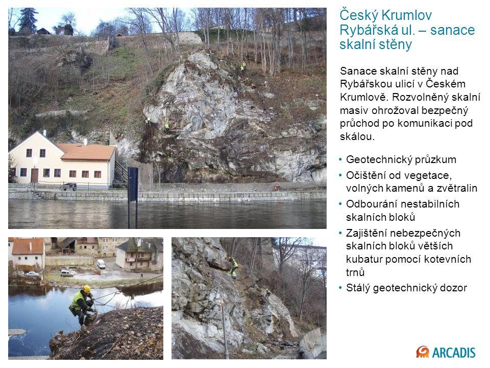 Český Krumlov Rybářská ul. – sanace skalní stěny