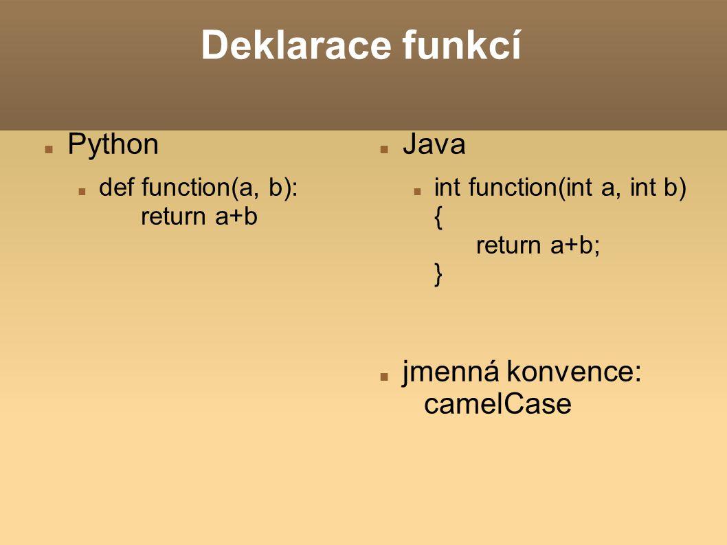 Deklarace funkcí Python Java jmenná konvence: camelCase
