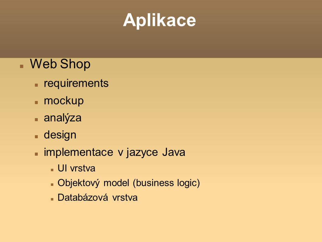 Aplikace Web Shop requirements mockup analýza design