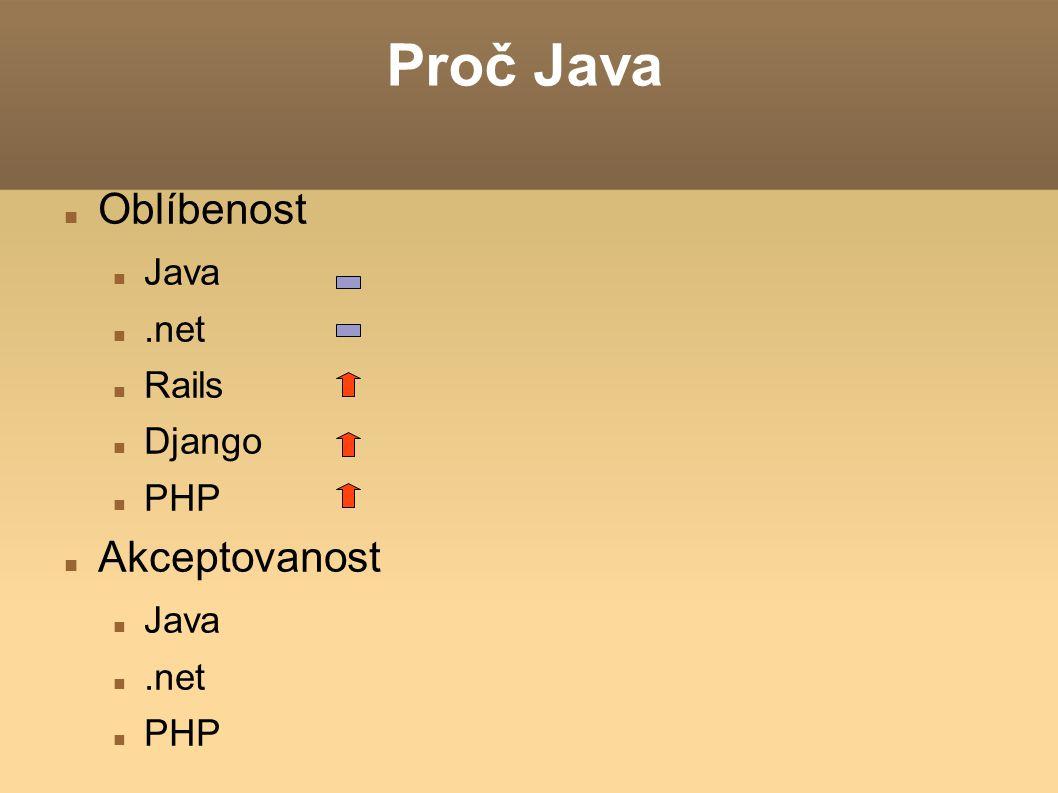 Proč Java Oblíbenost Java .net Rails Django PHP Akceptovanost