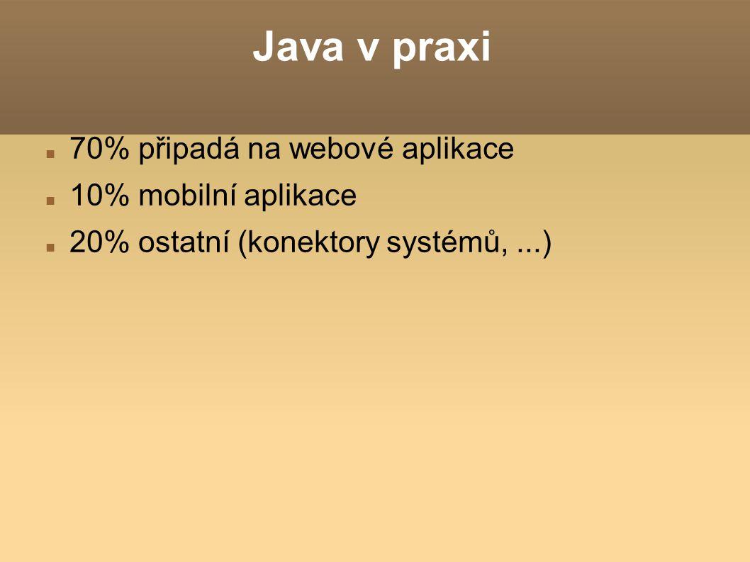 Java v praxi 70% připadá na webové aplikace 10% mobilní aplikace