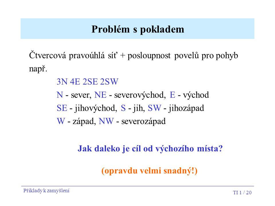 Problém s pokladem Čtvercová pravoúhlá síť + posloupnost povelů pro pohyb. např. 3N 4E 2SE 2SW. N - sever, NE - severovýchod, E - východ.