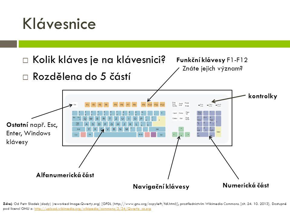 Klávesnice Kolik kláves je na klávesnici Rozdělena do 5 částí
