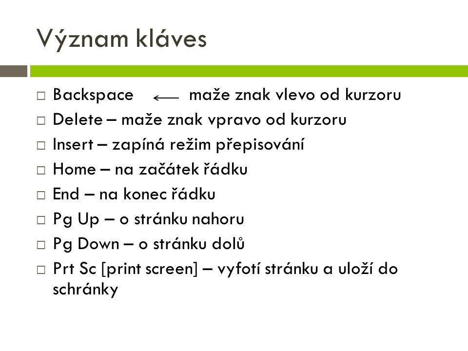 Význam kláves Backspace maže znak vlevo od kurzoru