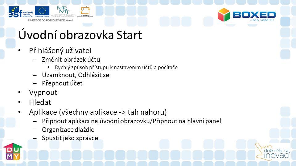Úvodní obrazovka Start