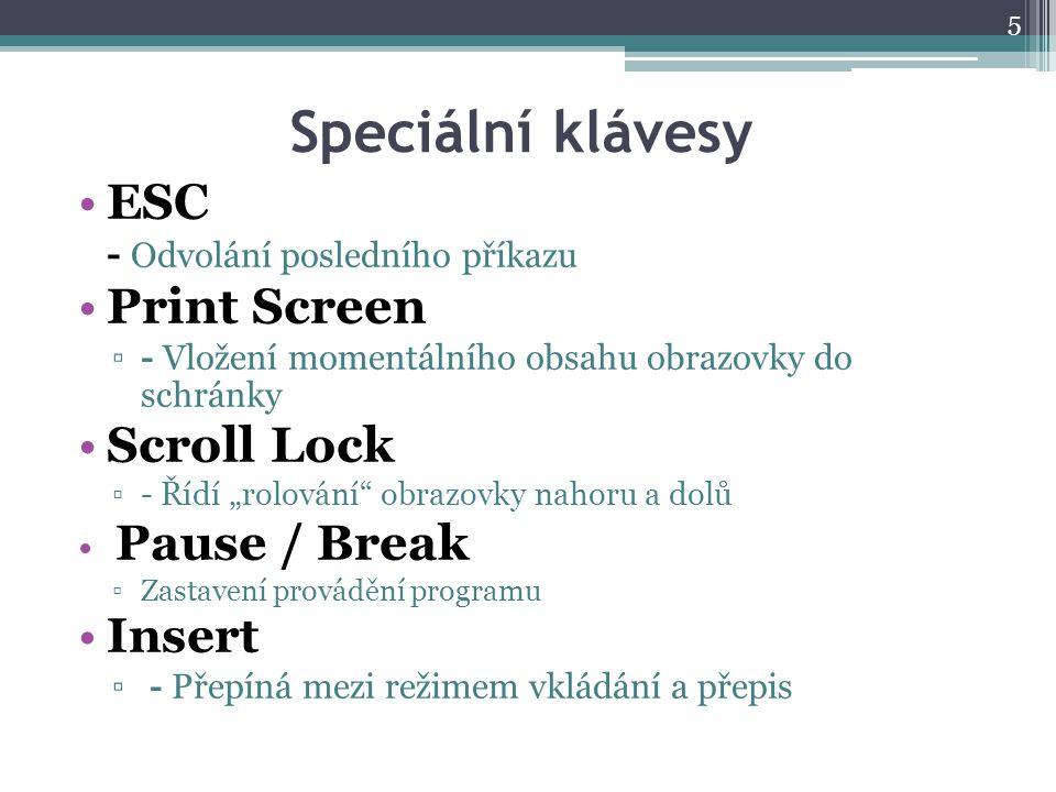 Speciální klávesy ESC Print Screen Scroll Lock Insert