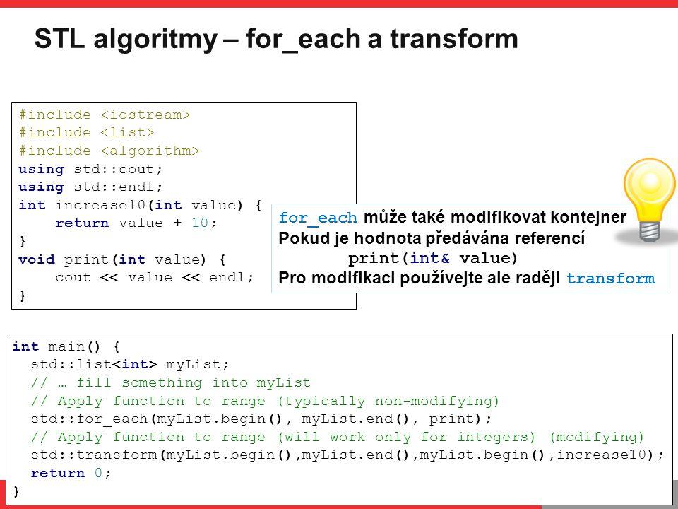 STL algoritmy – for_each a transform