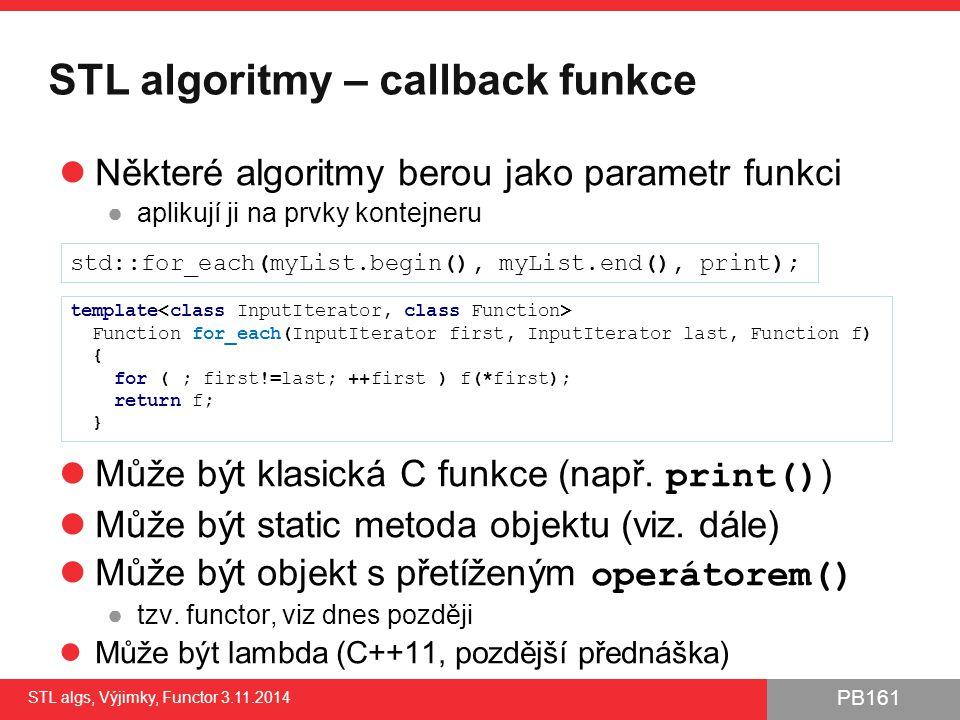 STL algoritmy – callback funkce