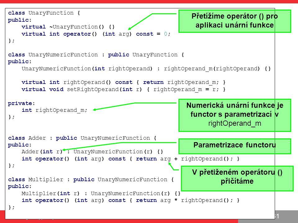 Přetížíme operátor () pro aplikaci unární funkce