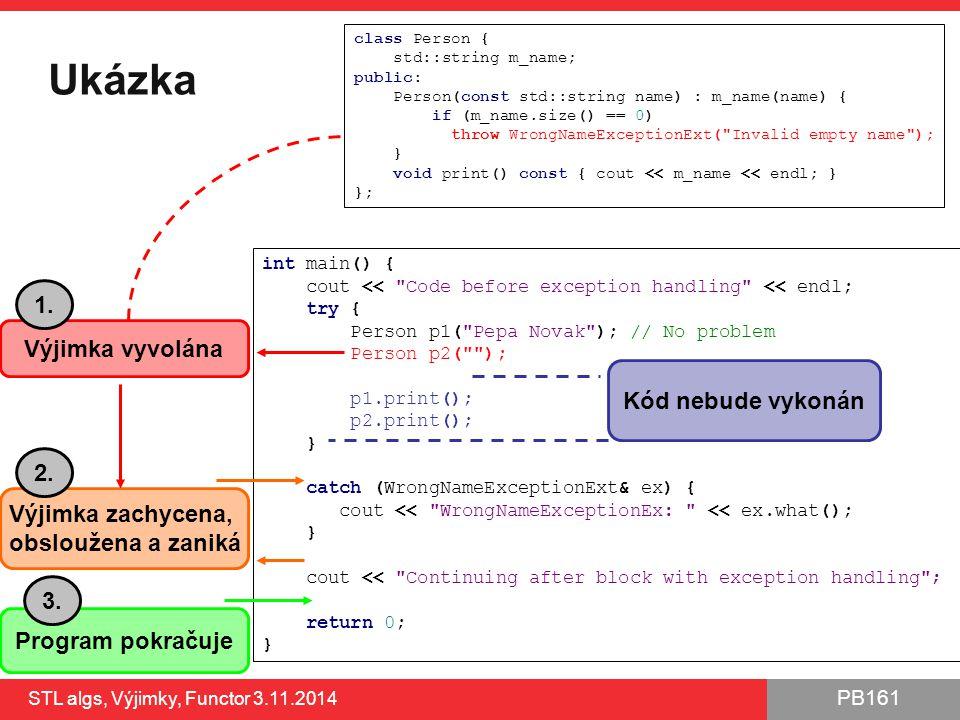 Ukázka 1. Výjimka vyvolána Kód nebude vykonán 2. Výjimka zachycena,